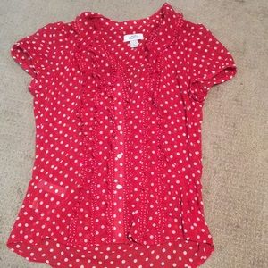 Red & white button down shirt